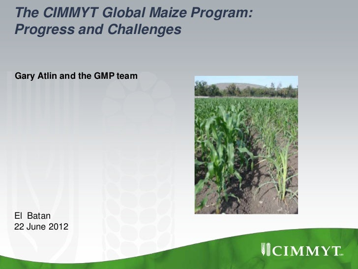 The CIMMYT Global Maize Program:Progress and ChallengesGary Atlin and the GMP teamEl Batan22 June 2012