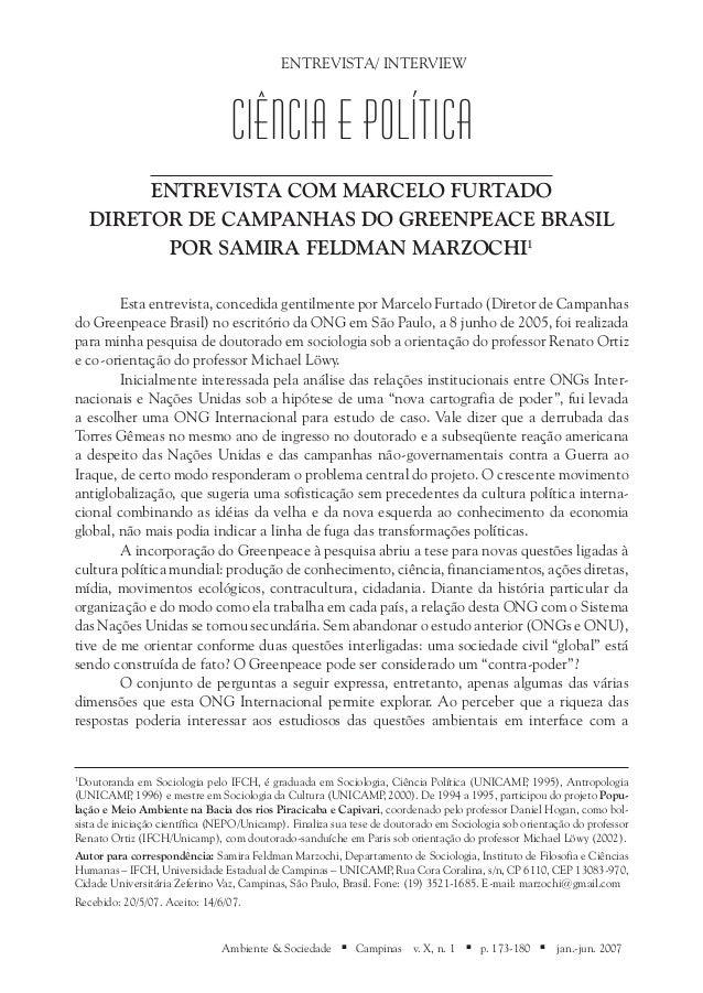 ENTREVISTA/ INTERVIEW                                 Ciência e Política         Entrevista com Marcelo Furtado    Diretor...