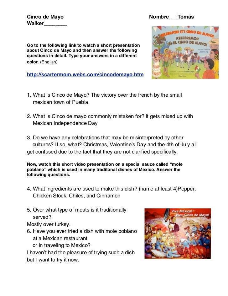 Cinco de Mayo                                            Nombre___TomásWalker________Go to the following link to watch a s...