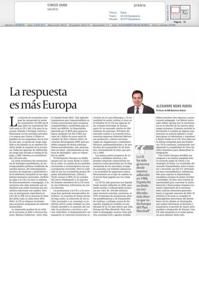 Alexandre Muns Rubiol profesor de EAE BUSINESS SCHOOL habla sobre las ayudas a Europa (Cinco Días)
