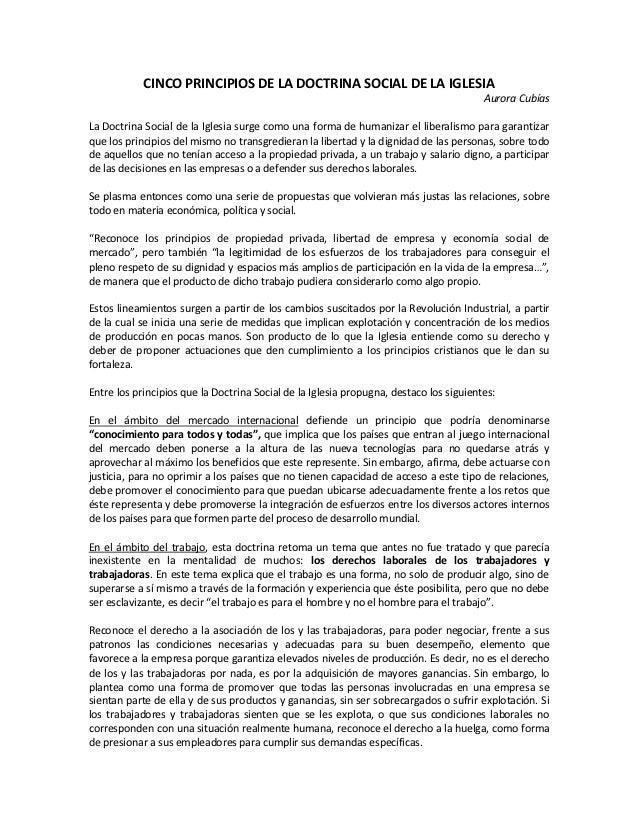 CINCO PRINCIPIOS DE LA DOCTRINA SOCIAL DE LA IGLESIA                                                                      ...