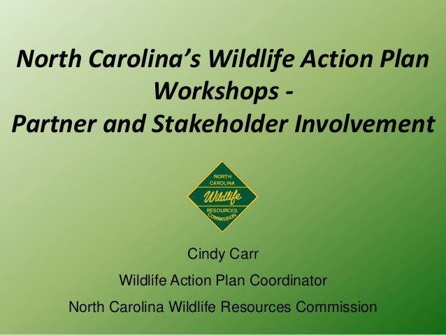 North Carolina's Wildlife Action Plan Workshops - Partner and Stakeholder Involvement Cindy Carr Wildlife Action Plan Coor...