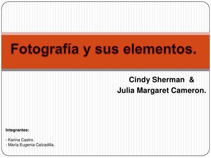 Fotografía y sus elementos.<br />Cindy Sherman  & <br />Julia Margaret Cameron. <br />Integrantes:<br />- Karina Castro.<b...