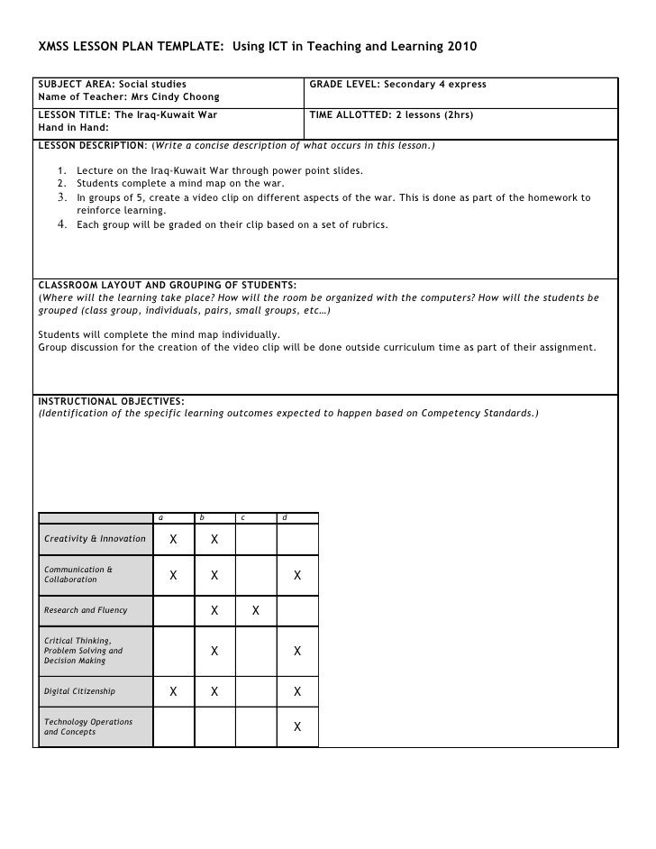 XMSS LESSON PLAN TEMPLATE: Using ICT in Teaching and Learning 2010  SUBJECT AREA: Social studies                          ...