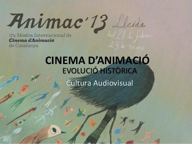CINEMA D'ANIMACIÓ EVOLUCIÓ HISTÒRICA Cultura Audiovisual