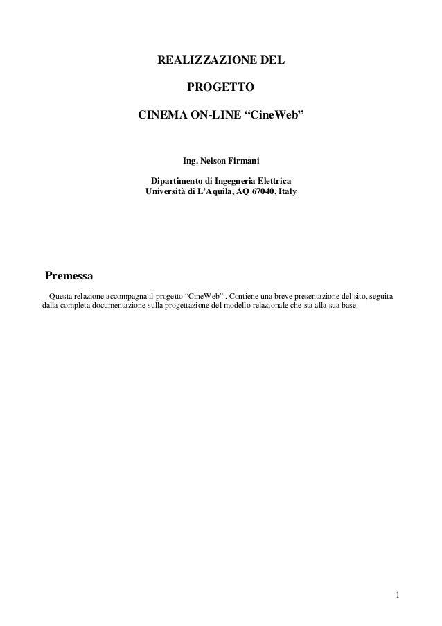 REALIZZAZIONE DEL PROGETTO CINEMA ON-LINE CineWeb