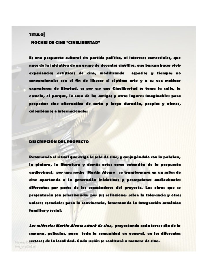 """TITULO NOCHES DE CINE """"CINELIBERTAD""""Es una propuesta cultural sin partido político, ni intereses comerciales, quenace de l..."""