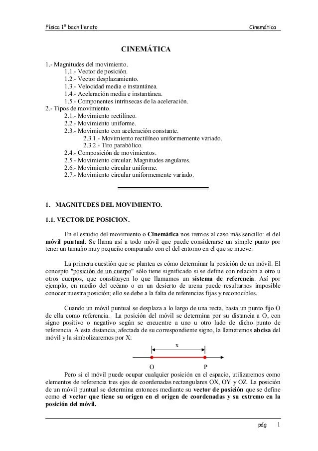 Física 1º bachillerato                                                         Cinemática                             CINE...