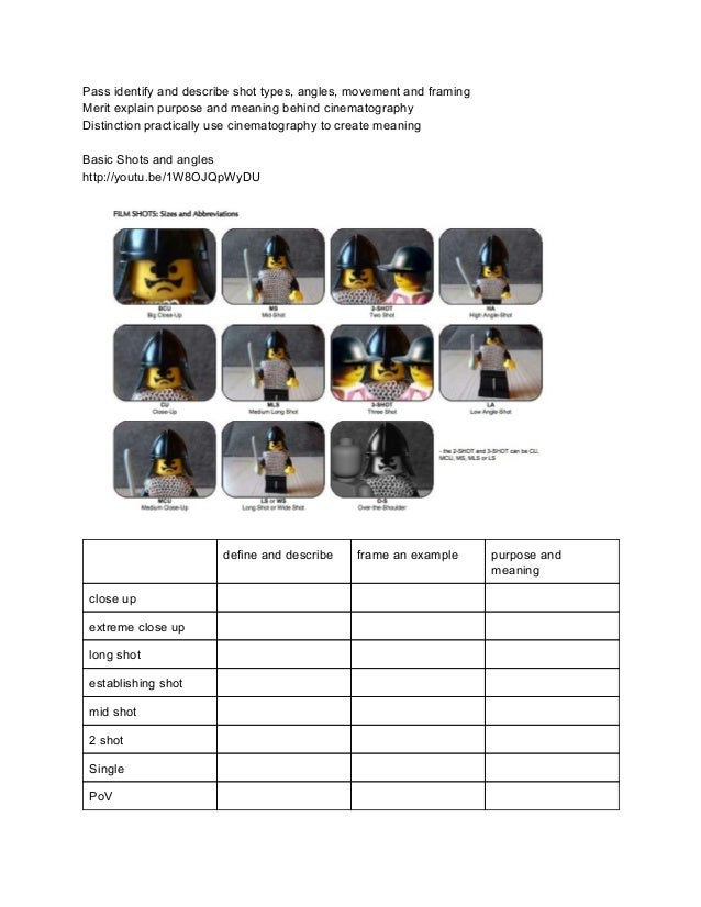 cinematography worksheet. Black Bedroom Furniture Sets. Home Design Ideas