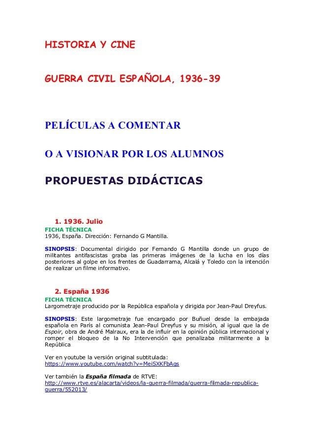 HISTORIA Y CINE. GUERRA CIVIL ESPAÑOLA