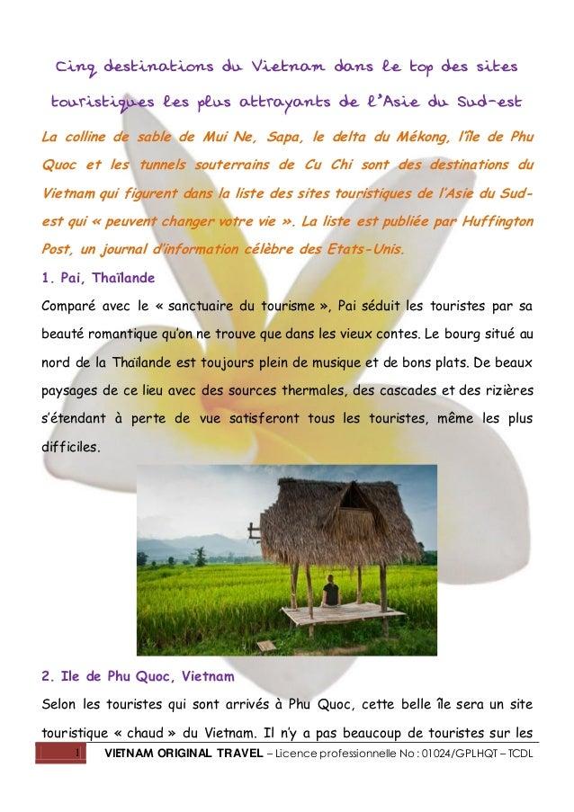 1 VIETNAM ORIGINAL TRAVEL – Licence professionnelle No : 01024/GPLHQT – TCDL Cinq destinations du Vietnam dans le top des ...