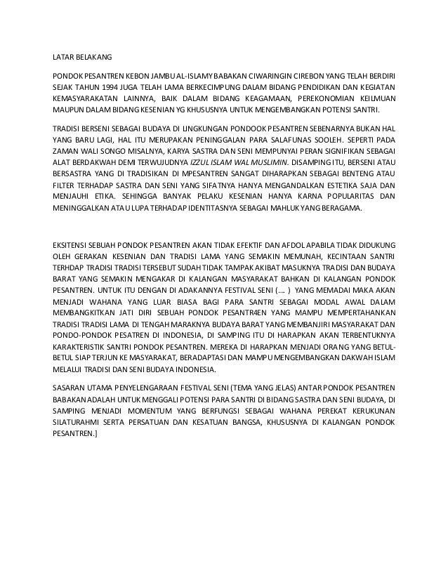LATAR BELAKANG  PONDOK PESANTREN KEBON JAMBU AL-ISLAMY BABAKAN CIWARINGIN CIREBON YANG TELAH BERDIRI  SEJAK TAHUN 1994 JUG...