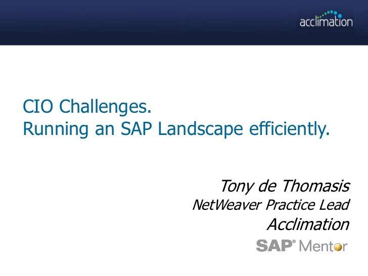 CIO Challenges.<br />Running an SAP Landscape efficiently.<br />Tony de Thomasis<br />NetWeaver Practice Lead<br />Acclima...
