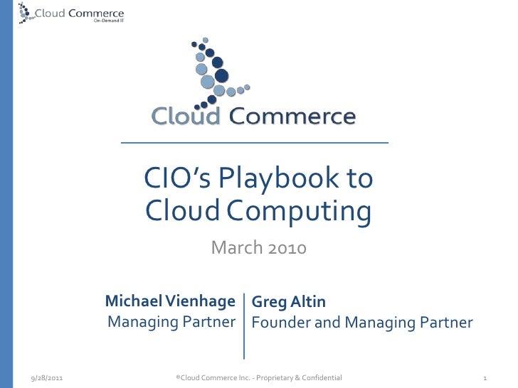 CIO Playbook on Cloud Computing