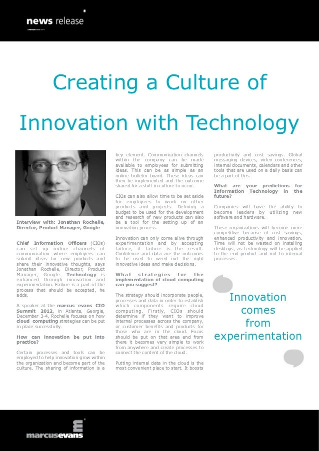 Creating a Culture of Innovation with Technology                                            key element. Communication cha...
