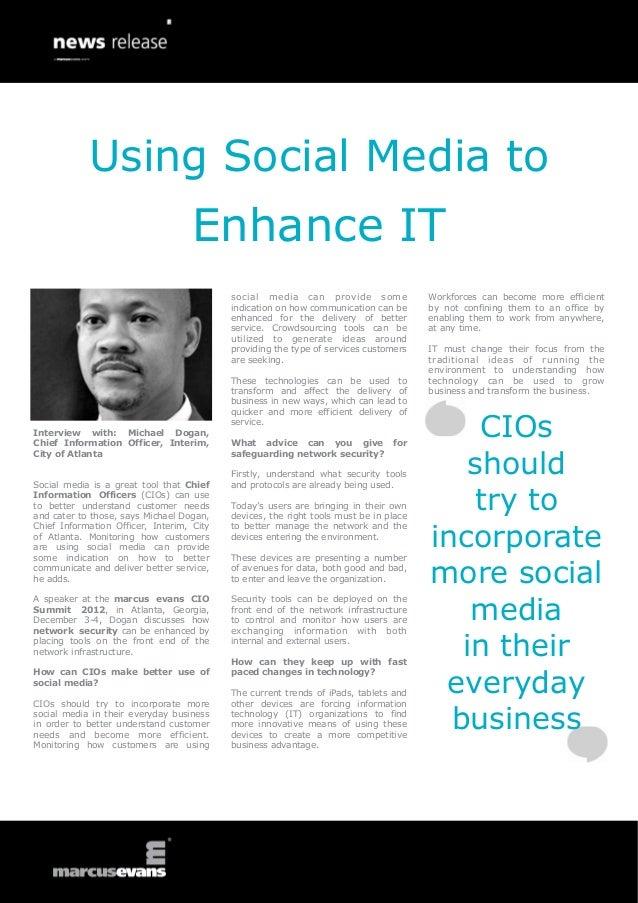 Using Social Media to                                    Enhance IT                                           social media...