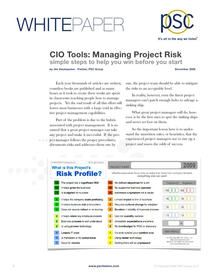 WHITEPAPER         CIO Tools: Managing Project Risk         simple steps to help you win before you start         by Jim V...