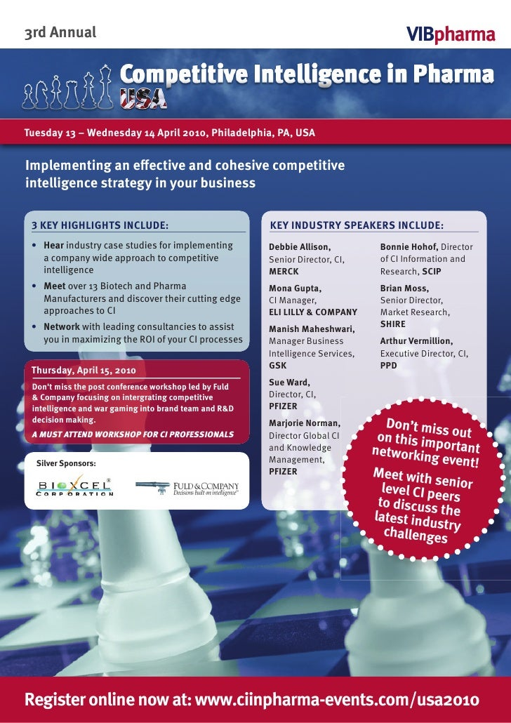 Competitive Intelligence in Pharma USA | April 13-14, 2010