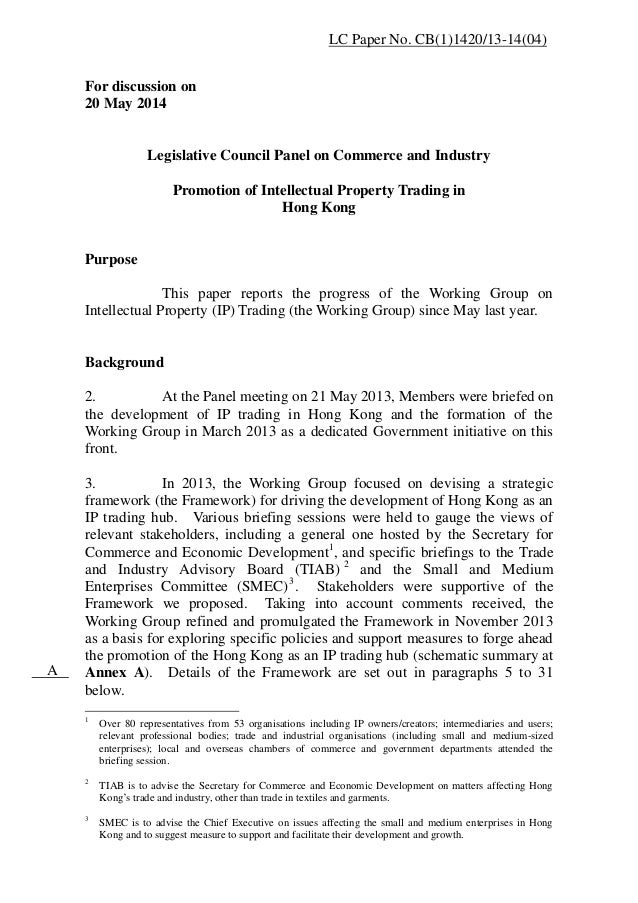 For discussion on 20 May 2014 Legislative Council Panel on Commerce and Industry Promotion of Intellectual Property Tradin...