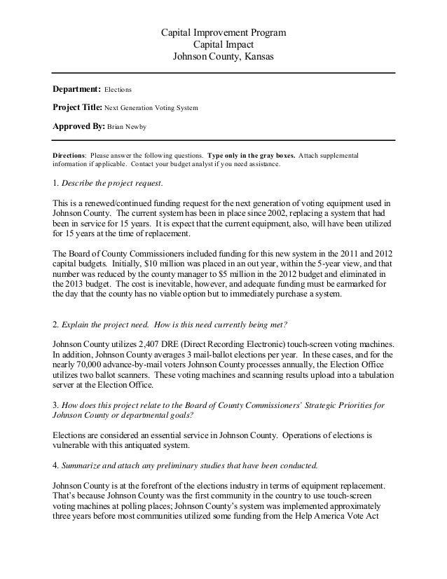 Capital Improvement Program Capital Impact Johnson County, Kansas Department: Elections Project Title: Next Generation Vot...