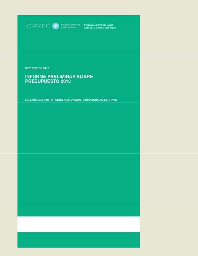 CIPPEC: Informe preliminar presupuesto 2013
