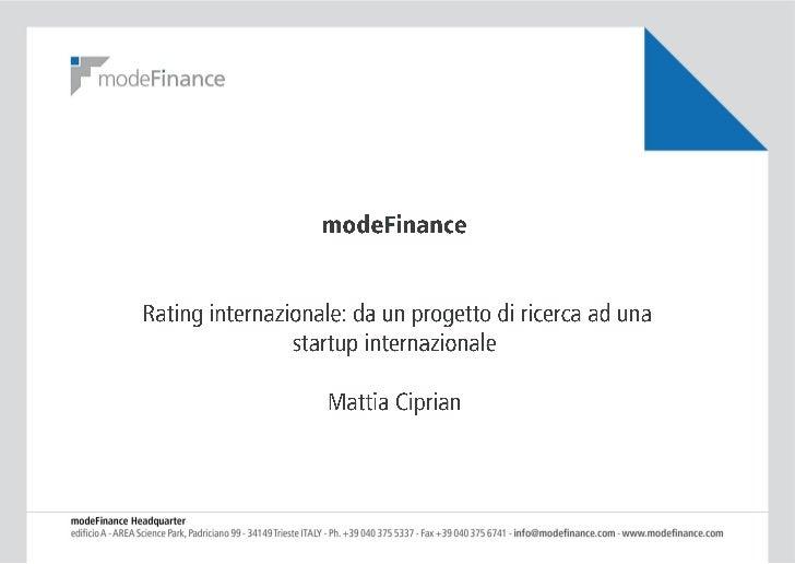 Rating internazionale: da un progetto di ricerca ad una startup internazionale