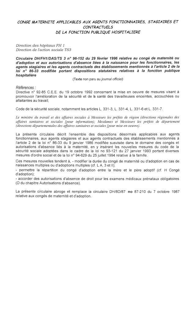 CONGE MATERNITE APPLICABLES AUX AGENTS FONCTIONNAIRES, STAGIAIRES ET  CONTRACTUELS  DE LA FONCTION PUBLIQUE HOSPITALIERE  ...