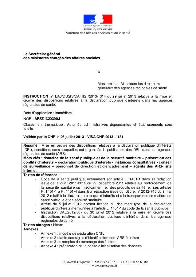 Circulaire DPI ARS 29/07/2013