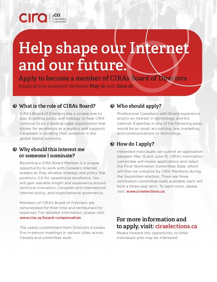 Help shape our Internetand our future.Apply to become a member of CIRA's Board of DirectorsApplications accepted between M...
