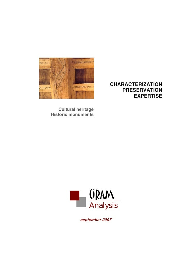 CHARACTERIZATION                              PRESERVATION                                  EXPERTISE     Cultural heritag...