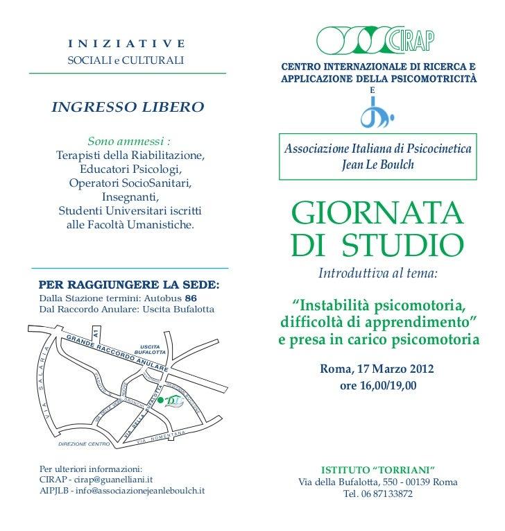 Roma, 17 marzo. Instabilità psicomotoria, difficoltà di apprendimento
