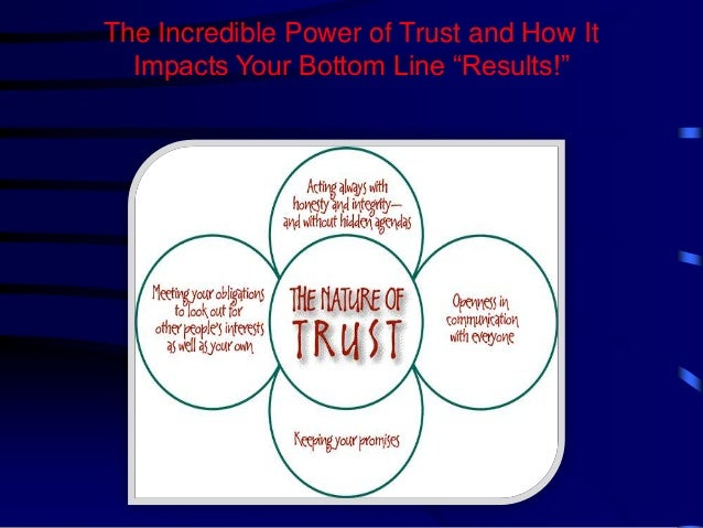 "The Incredible Power of Trust and How It Impacts Your Bottom Line ""Results!"""