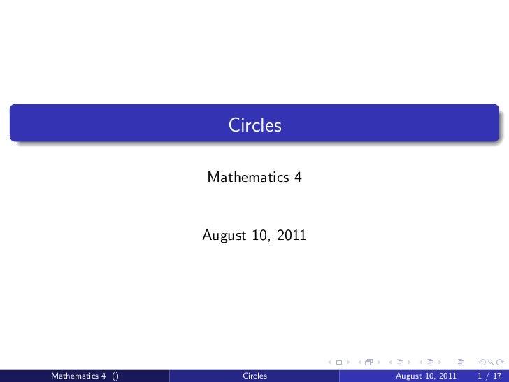 Circles Lecture - Part 1