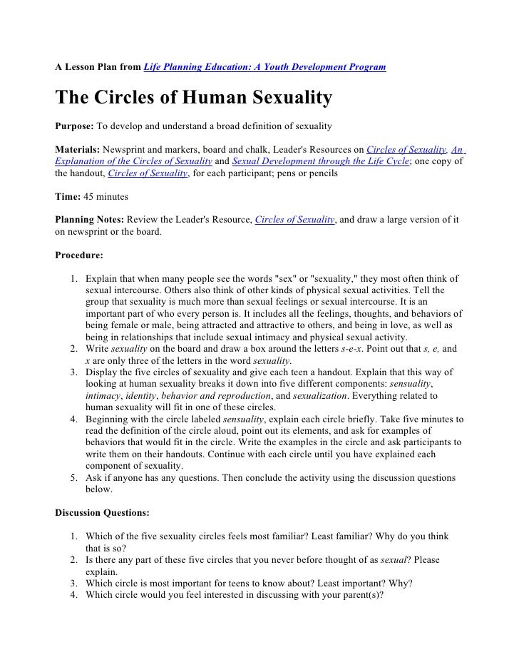 A Lesson Plan from Life Planning Education: A Youth Development Program   The Circles of Human Sexuality Purpose: To devel...