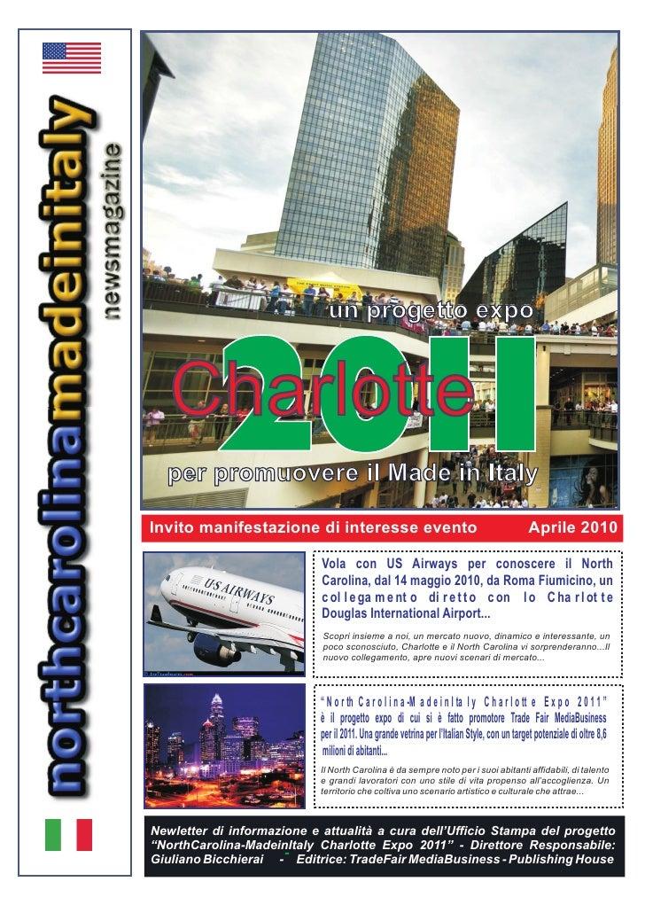 un progetto expo               201    Charlotte 1   per promuovere il Made in Italy  Invito manifestazione di interesse ev...