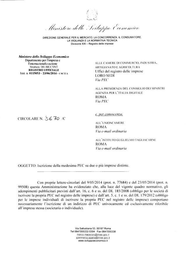Casella PEC: chiarimenti del MISE