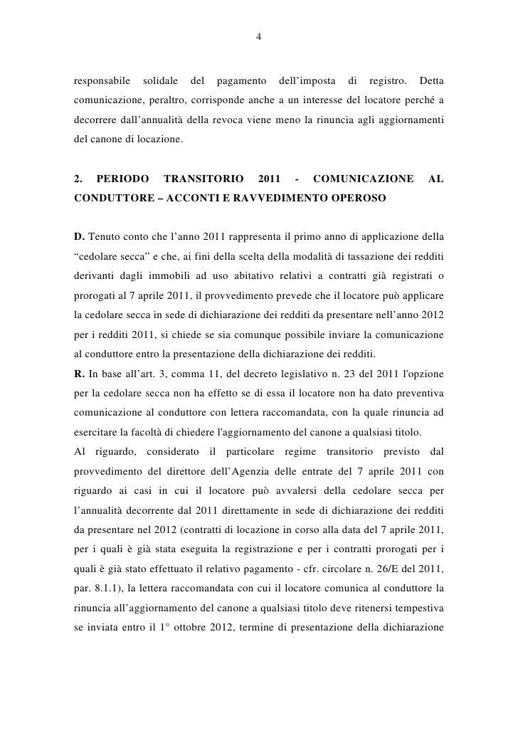 Circolare cedolare secca 2012 - Contratto transitorio motivazioni locatore ...