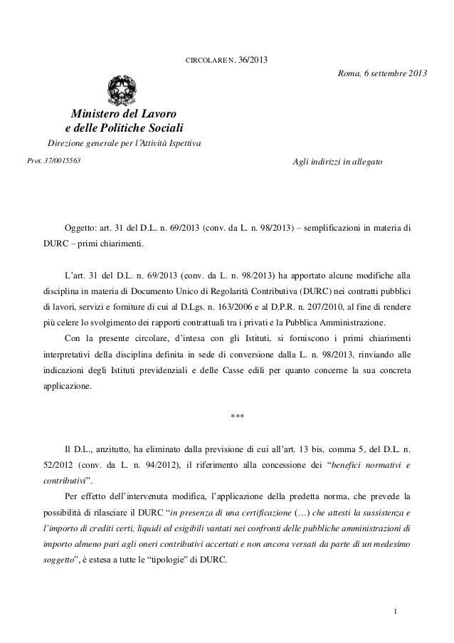 1 CIRCOLARE N. 36/2013 Ministero del Lavoro e delle Politiche Sociali Direzione generale per l'Attività Ispettiva Roma, 6 ...
