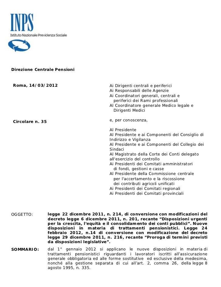 Direzione Centrale PensioniRoma, 14/03/2012                               Ai Dirigenti centrali e periferici              ...