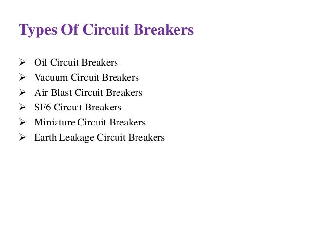 Classification Circuit Breaker Types of Circuit Breakers