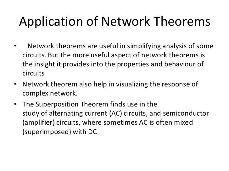 ac network theorem 792 network theorems (ac) the total response for each frequency is found independently and the results are expanded in a nonsinusoidal expression, as appearing in.
