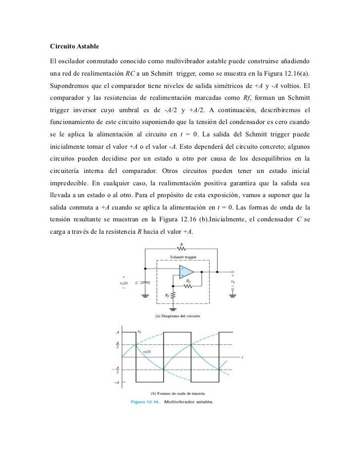 Circuito AstableEl oscilador conmutado conocido como multivibrador astable puede construirse añadiendouna red de realiment...