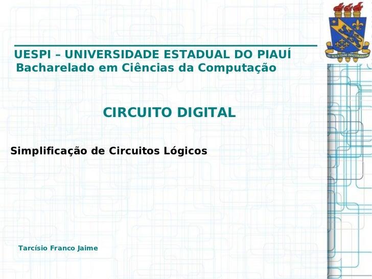 Circuito digitalsimplificacaocircuito