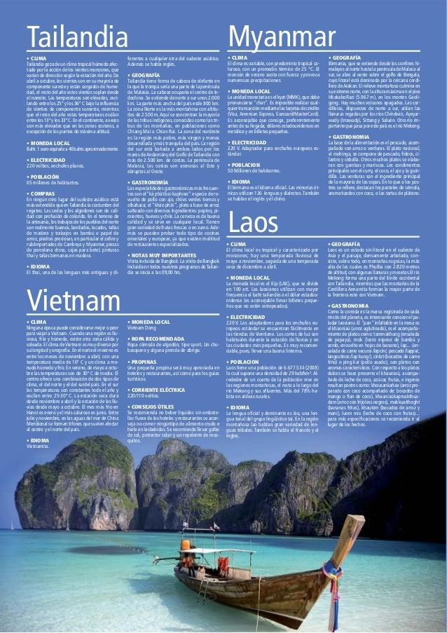 Tailandia• CLIMA Tailandia goza de un clima tropical húmedo afec- tado por la acción de los vientos monzones, que varían d...