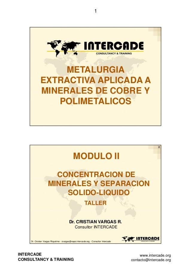 1  METALURGIA EXTRACTIVA APLICADA A MINERALES DE COBRE Y POLIMETALICOS  2  MODULO II CONCENTRACION DE MINERALES Y SEPARACI...