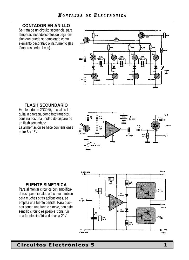 MONTAJES      DE   ELECTRONICA    CONTADOR EN ANILLO Se trata de un circuito secuencial para lámparas incandescentes de ba...