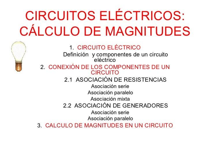 CIRCUITOS ELÉCTRICOS:CÁLCULO DE MAGNITUDES           1. CIRCUITO ELÉCTRICO        Definición y componentes de un circuito ...