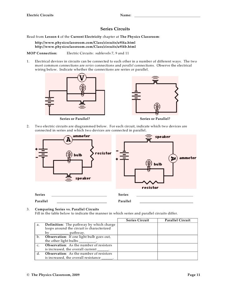 Series Circuit Worksheet 1 series circuit worksheets for middle – Parallel and Series Circuits Worksheet