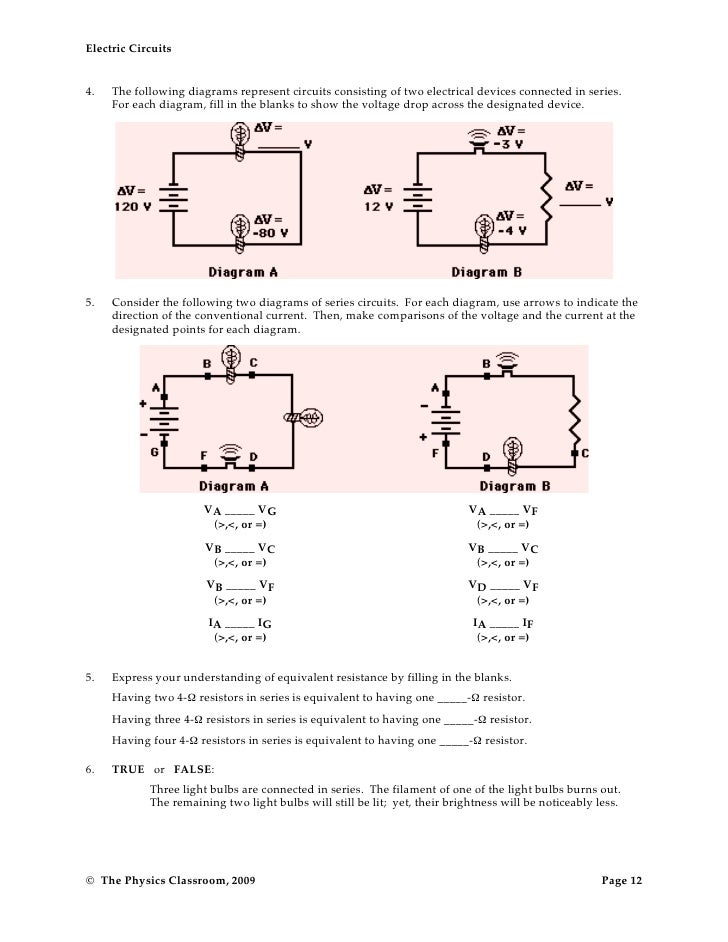 Parallel circuits worksheet answers physics classroom