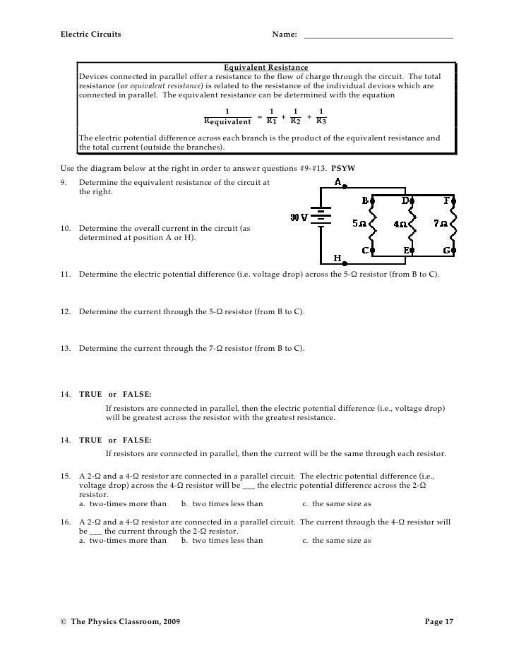 Series circuits worksheet answers physics classroom